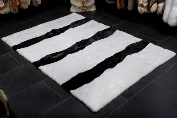 Alfombra de piel de visón genuina con patrón en blanco y negro