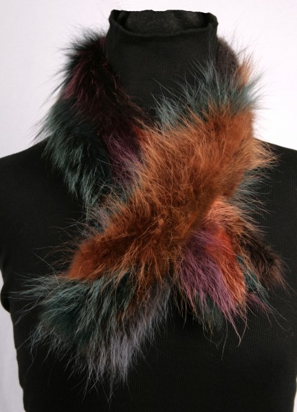 Raccoon Fur Scarf Multicolor