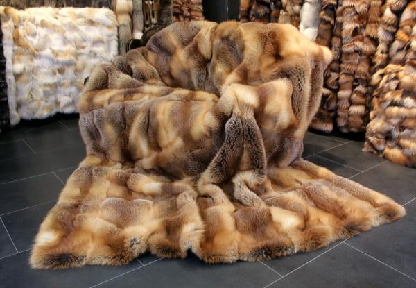 Red fox fur throw from European Red Fox