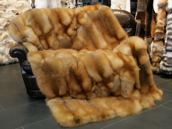 Canadian red fox fur throw