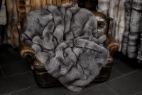 SAGA Blue Frost Fox Fur Blanket