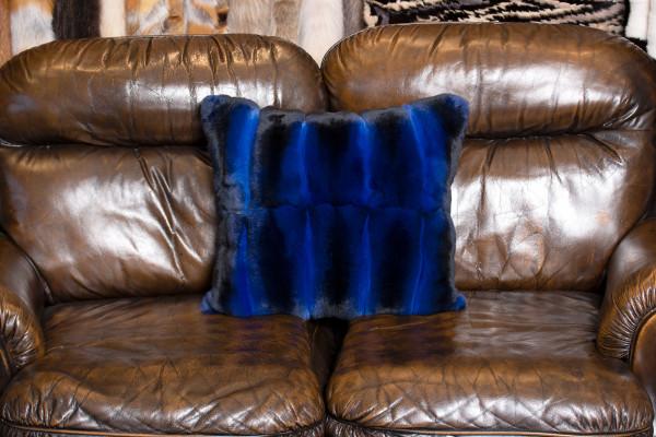 Chinchilla Fur Cushion with Kolinsky