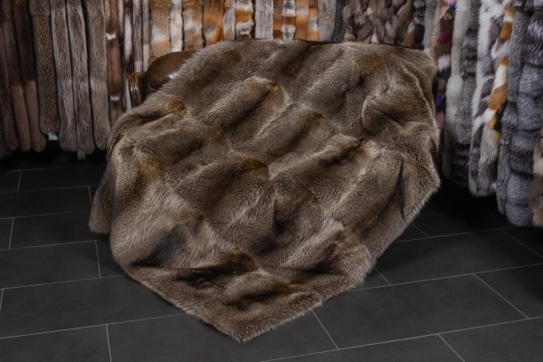 Canadian Raccoon Fur Blanket with Fur on Both Sides