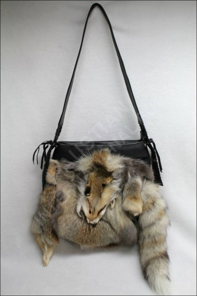 Large handbag made of SAGA fawn light fox fur