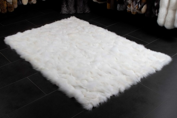 Scandinavian Fox Pieces Fur Rug in White