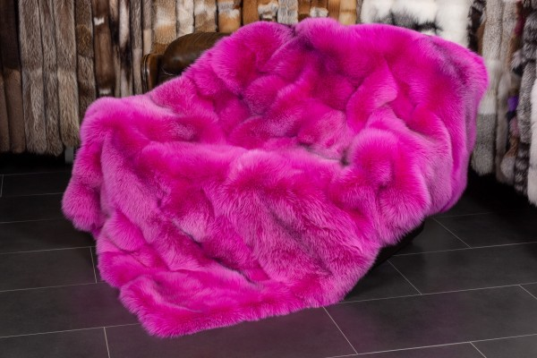 Arctic Marble Frost Fox Blanket With Real Fur