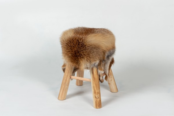 Rustic Wood Stool with European Red Fox Fur