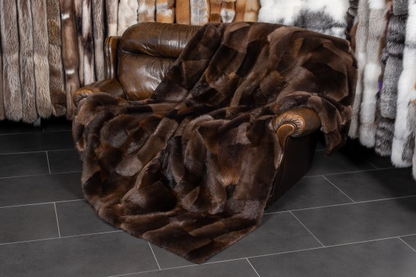 Canadian Beaver Fur Throw with Patchwork Design
