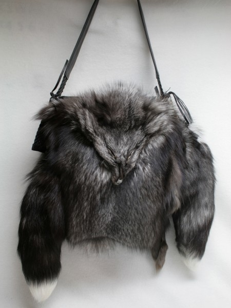 Handbag made of SAGA blue frost fox fur