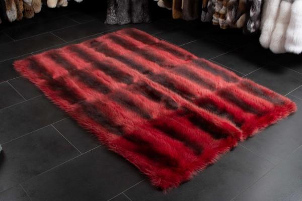 Canadian Raccoon Real Fur Carpet in Red - Wild Fur