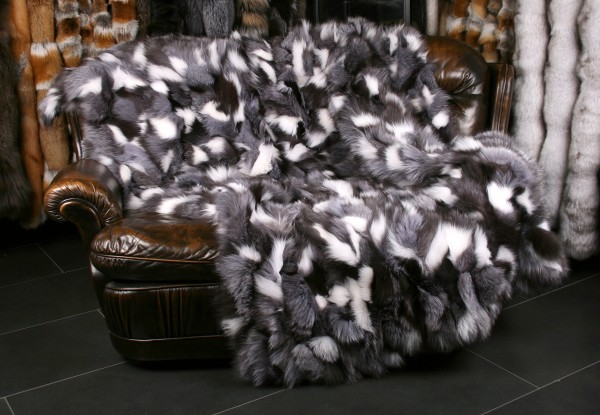 Fox Fur Blanket in black & white from fox pieces
