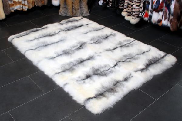 Genuine Shadow Blue Frost Fox Fur Rug