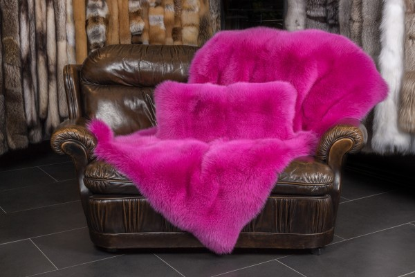 Pink Shadow Fox Fur Throw Lars Paustian