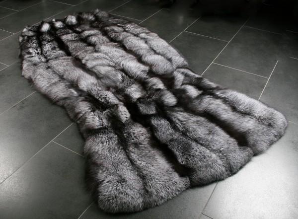 Alfombra de piel de zorro plateado - natural