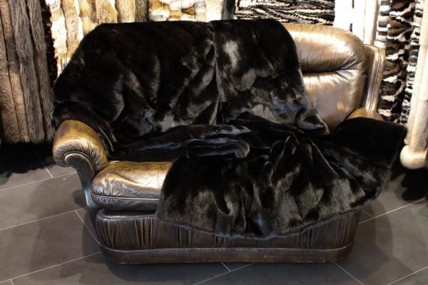 Mink Fur Blanket in Black