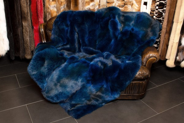 "Special Red Fox Fur Throw ""Ocean Blue"""