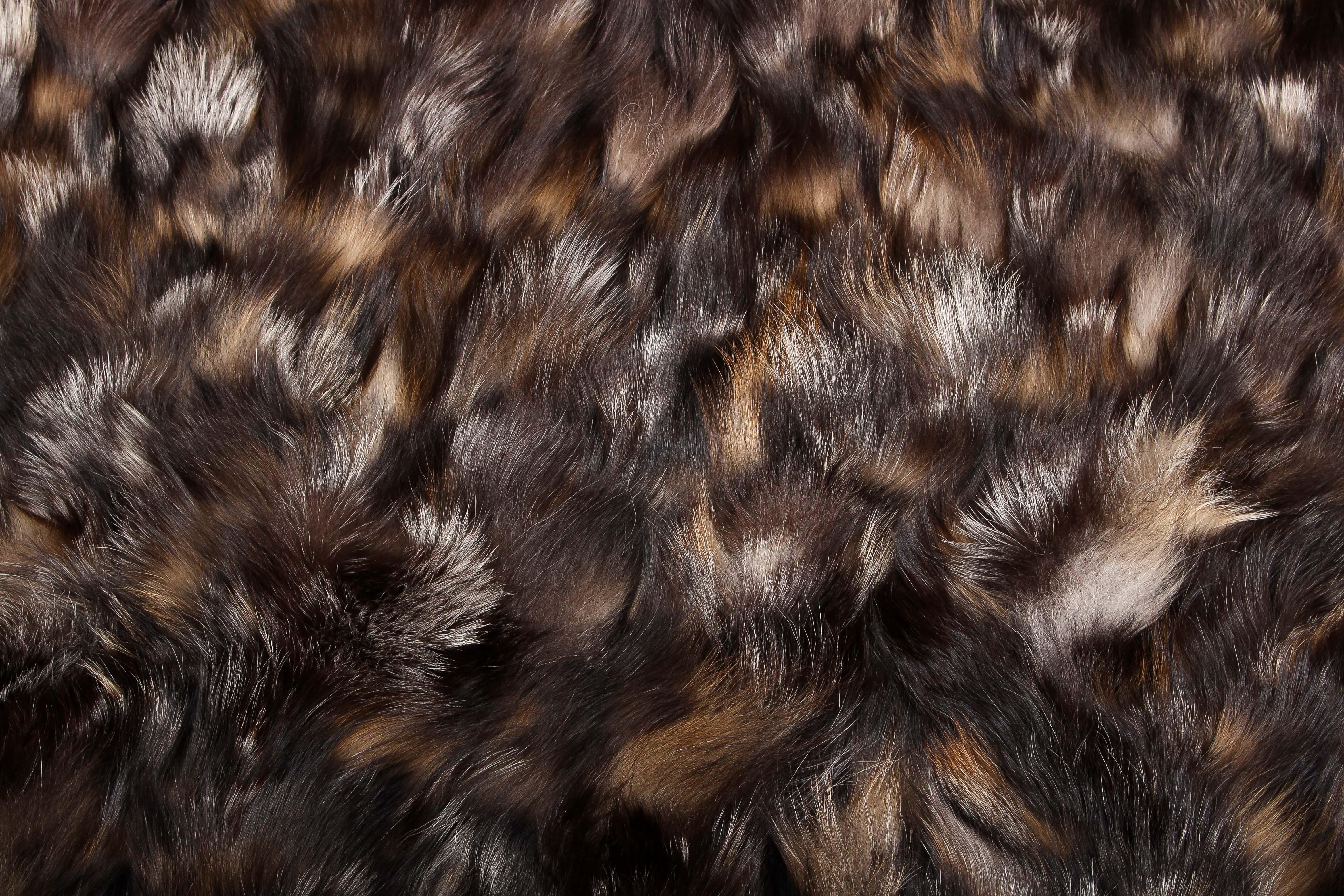Golden Cross Fox Pieces Fur Carpet Genuine Fur