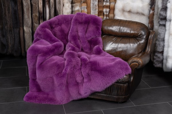 Scandinavian Shadow Fox Fur Throw in Pink