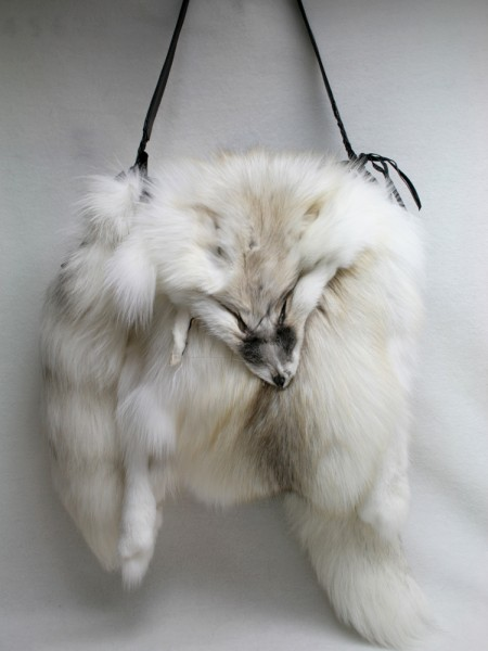 Handbag made of SAGA fawn light fox fur