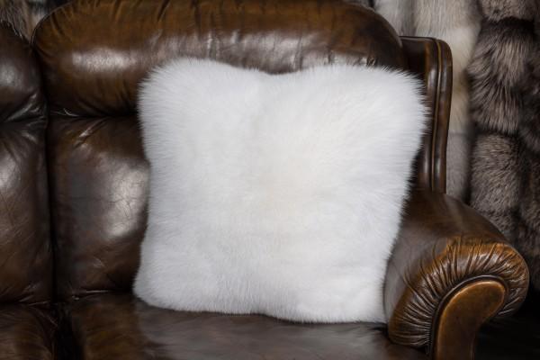 White Shadow Fox Fur Cushion