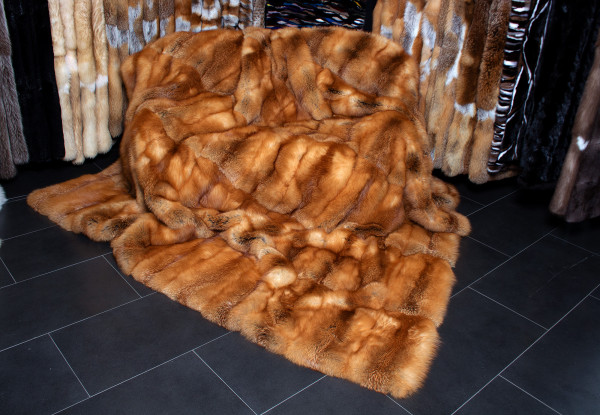 Canadian Red Fox Fur Blanket in XXL
