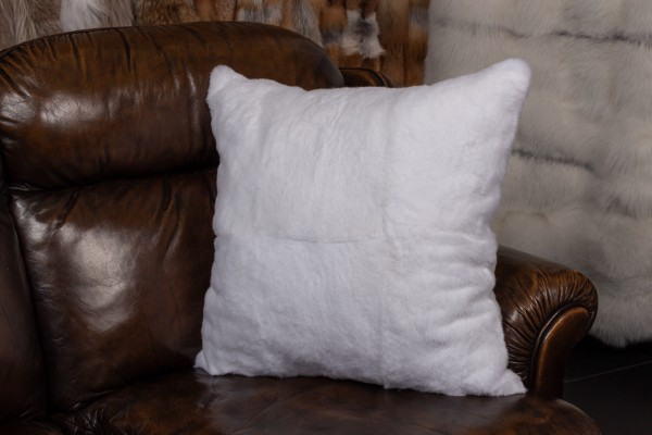 Shorn rabbit fur pillow - white - German furs