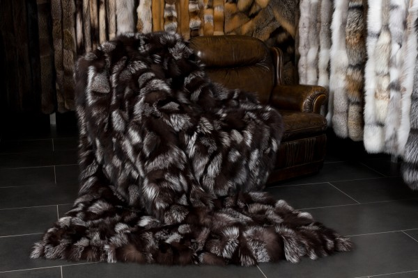 Luxurious silver fox sides fur blanket