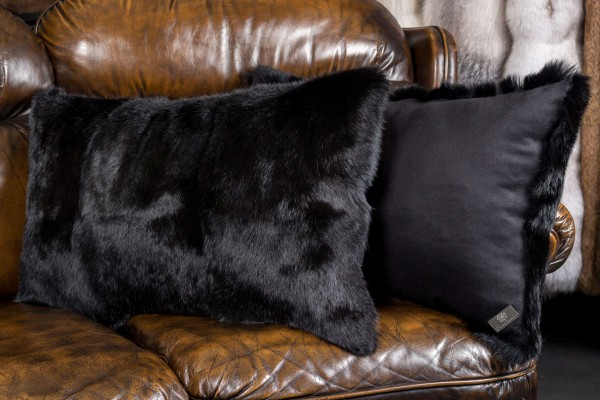Fur Cushion made with Black Rabbits
