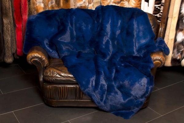 Real Fur Rabbit Blanket in Navy Blue