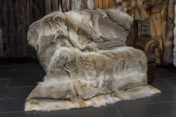 Canadian Coyote Fur Throw