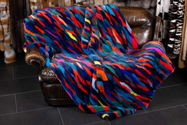 Real Fur Blanket made from Mink Tails - Multicolor