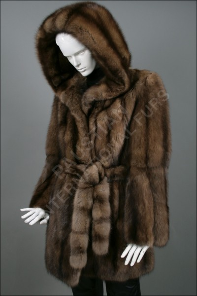 Sable fur coat made from dark bargusin sable furs