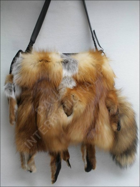 Handbag made of Canadian red fox fur