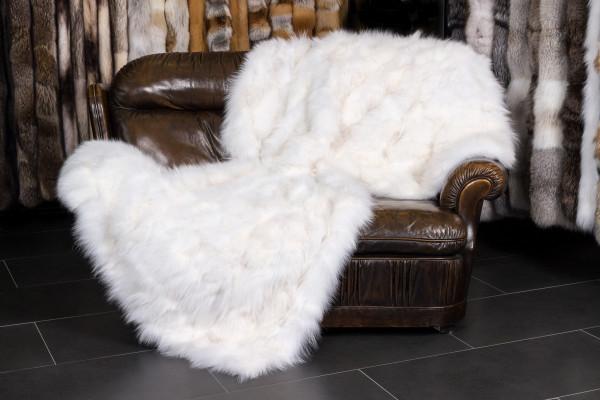 Suave manta de piel de zorro - blanco
