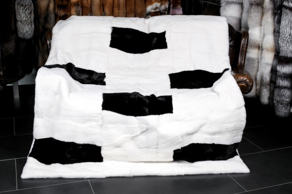 Mink Fur Throw - Black & White