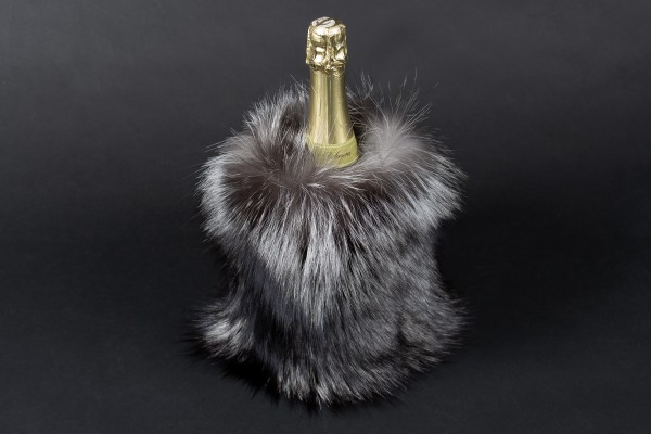 Silver Fox Wine Chiller Made with Real Fur