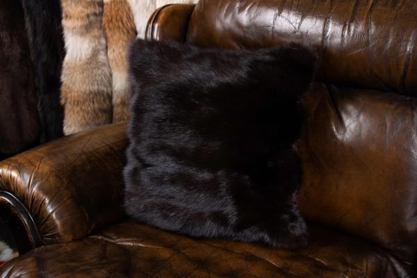 Russian Sable Fur Cushion Gray Smoke Genuine Fur