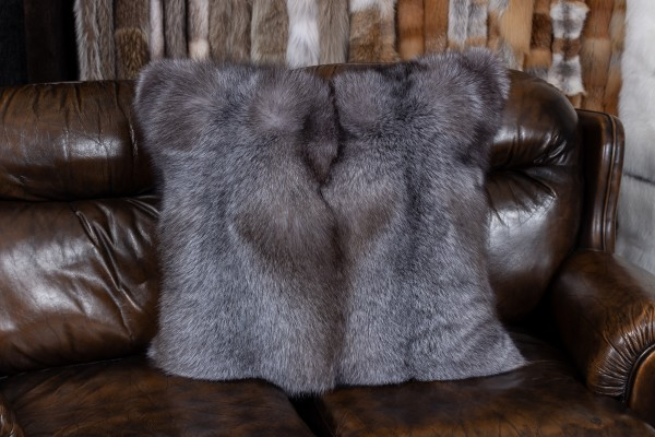 """Blue Frost Fox Cushion """"Brown-Type"""" with black Weasel Backing"""