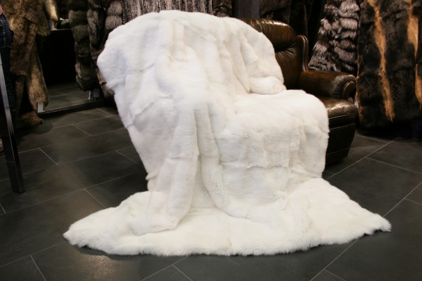 Rabbit Fur Blanket - White - German
