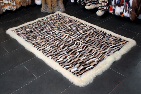 Real Mink Fur Rug with Blue Fox