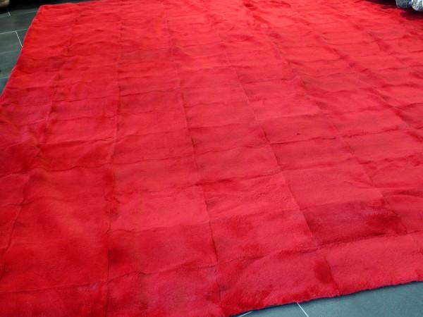 Rabbit fur rug or carpet in red