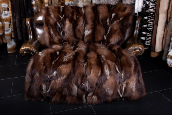 Manta de zorro plateado marrón - Piel auténtica
