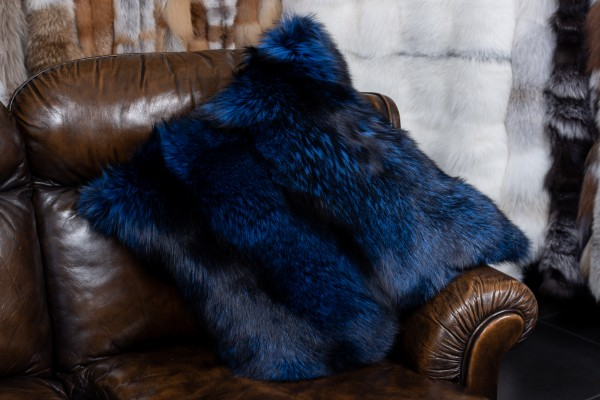 Real Fur Silver Fox Pillow in royal blue