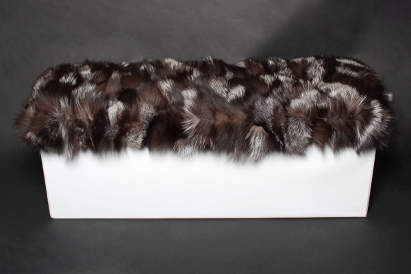 White Ottoman with Silver Fox Fur Sides
