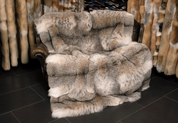 Cuddly Bobcat Fur Blanket