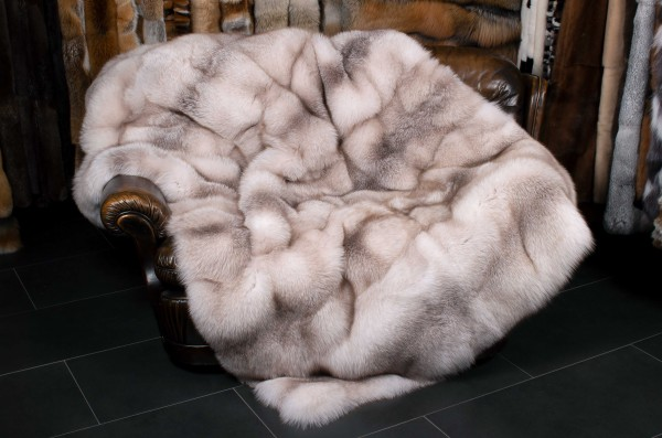 Natural Amber Fox Fur Blanket