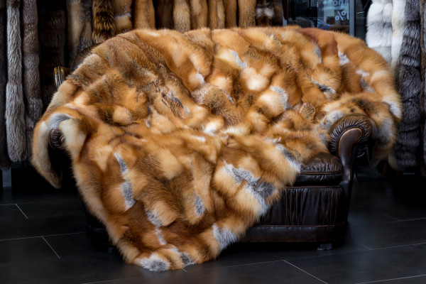 Red Fox Fur Blanket from European Red Foxes