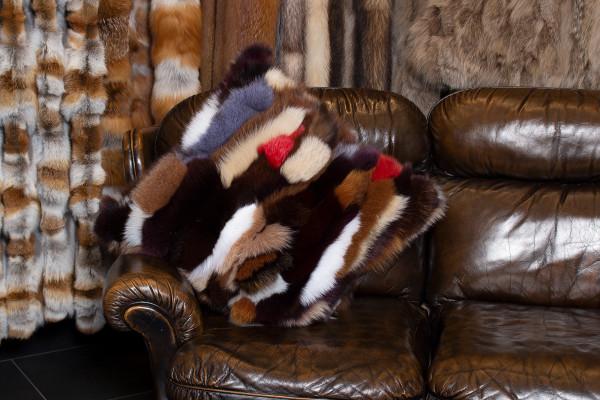 Genuine Blue Fox Fur Pillow in Multicolor