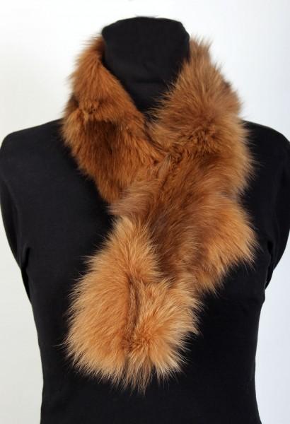 Blue Fox Fur Scarf in Beige