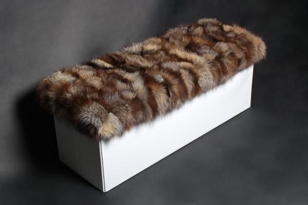 Genuine Silver Fox Fur Ottoman - 100% Real Fur